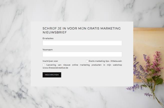 Schrijf je in voor mijn gratis marketingtips